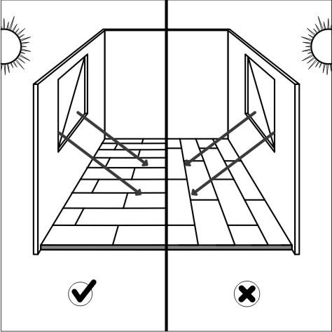 Распологайте доски по длинной стороне падающего света