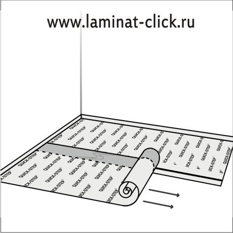 Перед настилом ламината, укладываем подложку